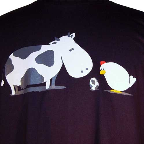Funny Chicken and Cow Egg Shirt - Did they do it ?