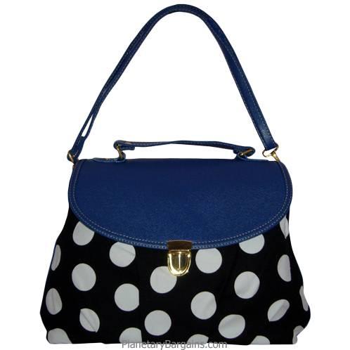 Dark Blue Pastel Polka Dot Shoulder Bag