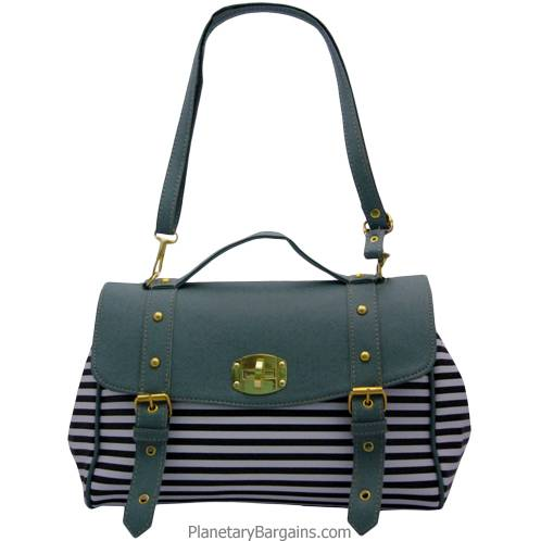 Pastel Green Striped Shoulder Bag