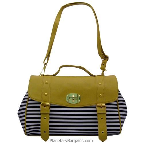 Vintage Yellow Striped Shoulder Bag