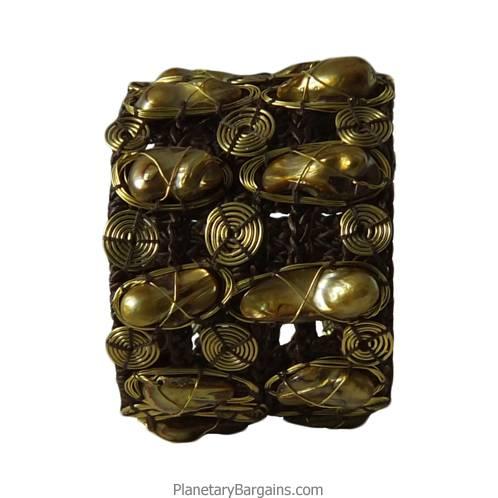 River Pearl Brass Twine Bracelet Golden
