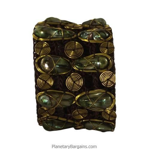 River Pearl Brass Twine Bracelet Green