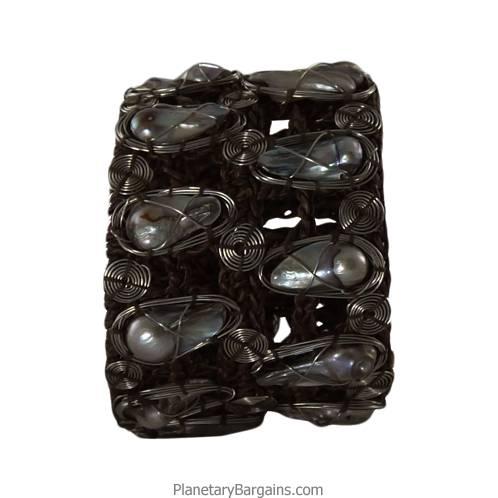River Pearl Brass Twine Bracelet Silver