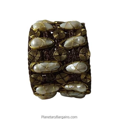 River Pearl Brass Twine Bracelet White