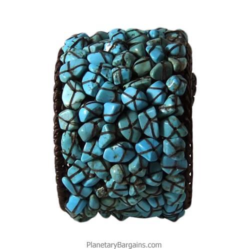 Turquoise Stone Twine Bangle