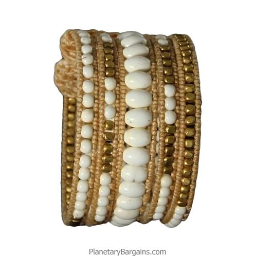 Twine White Brass Bead Bangle