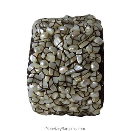White Pearl Seashell Twine Bangle