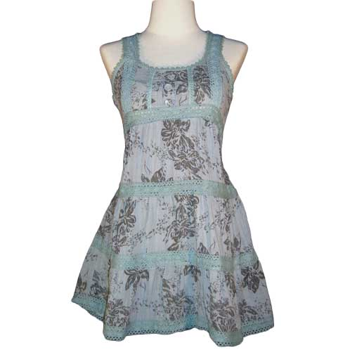 Flower Print Cotton and Lace Summer Dress