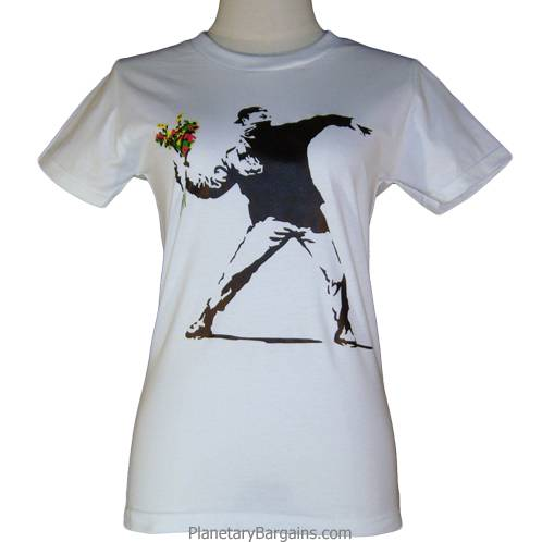 Ladies Banksy Flowers Shirt