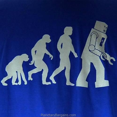 bf58470cf8 Evolution Man To Robot T-Shirt Dark Blue - Sheldon Robot Evolution ...