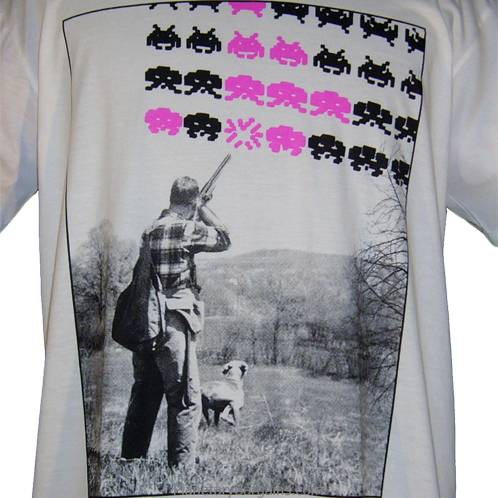Rural Space Invaders Shirt White Funny Farmer Shooting Space