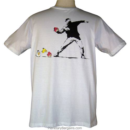 Angry Birds Rioter Shirt - White - Banksy Parody