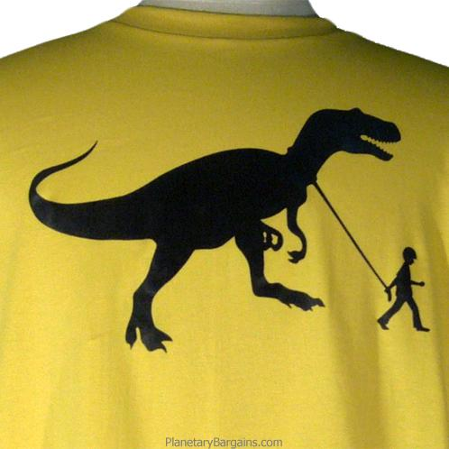 Boy With Pet Dinosaur Shirt T-Rex on a Leash