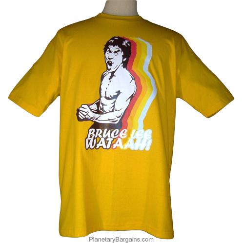 bruce lee wataah shirt yellow funny bruce lee t shirts to buy online supershirtguy. Black Bedroom Furniture Sets. Home Design Ideas