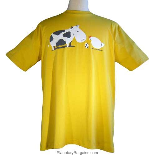 Chicken and Cow Egg Shirt Green