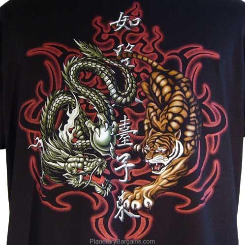 Dragon Tiger Yin Yang Shirt Black     Rock Eagle     Very Cool Mens T    Yin Yang Dragon Tiger Wallpaper