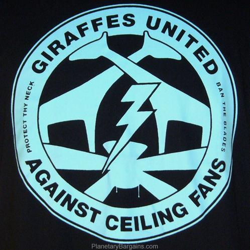 Giraffes United Against Ceiling Fans Shirt Black Funny