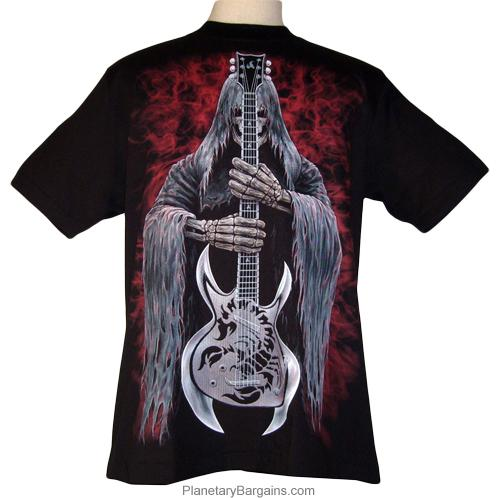 Grim Reaper With Scorpion Guitar Shirt