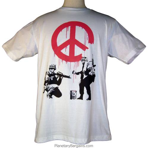 Banksy Soldiers Paint Peace Sign Shirt